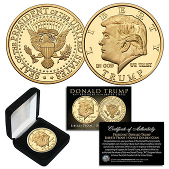 Donald Trump 45th President Liberty Proof Golden Tribute 1 Oz. Coin With Case