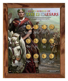 """Gold Aureus of the 12 Caesars """"Army"""" 24K Gold Plated Historical Replica Set in 8"""" x 10"""" Frame - V"""