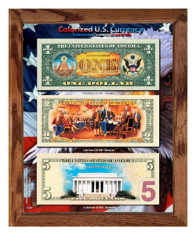 """U.S. Colorized $1, $2 & $5 Currency Set in 8"""" x 10"""" Frame  - Reverse Daytime"""