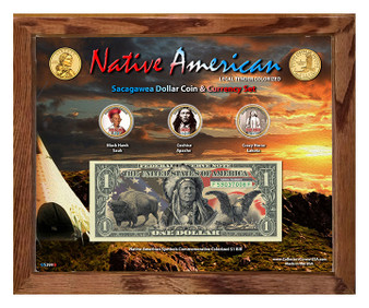 """Native American Symbols Set 1B Colorized Sacagawea Dollar Coin & $1 Bill Currency Set in 8"""" x 10"""" Frame"""