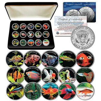 Tropical Fish Freshwater Aquarium Tank Colorized JFK Half Dollar Complete 15 Coin Set with Case