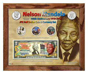 """Nelson Mandela 100th Anniversary 1918-2018 Colorized Coin & Currency Set in 8"""" x 10"""" Frame"""