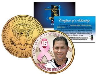 Carlos Beltran Breast Cancer Awareness 24K Gold Plated JFK Half Dollar