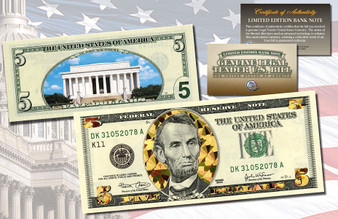 Dual Overlay Gold Hologram & Polychrome 2-Sided $5 Bill