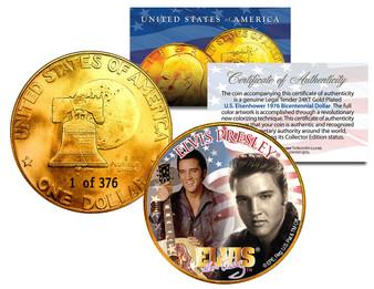 Elvis Presley Serialized 24K Gold Plated Ike Dollar