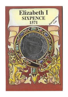 Elizabeth I 1571 Six Pence Replica Coin