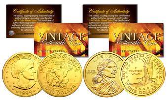 Sacagawea & Susan B. Anthony 24K Gold Plated U.S. Dollar History Of Women 2 Coin Set