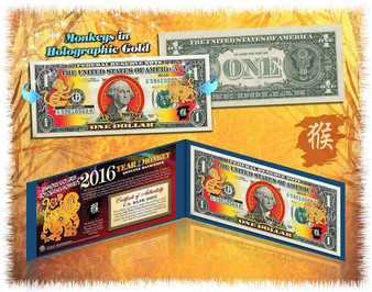 2016 Year Of The Monkey Lucky Colorized & Gold Hologram $1 Bill in Blue Folio