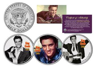 Elvis King Creole - Set of 3 Colorized JFK Half Dollars