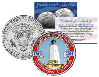Sandy Hook Lighthouse 250th Anniversary Colorized 2014 JFK Half Dollar
