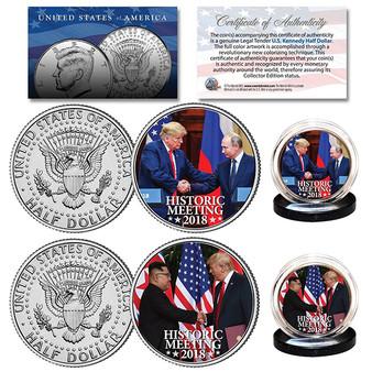 President Trump Historic Meetings 2018 Colorized JFK 2 Coin Set