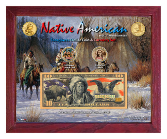 """Native American Symbols Set 4B Colorized Sacagawea Dollar Coin & $10 Bill Currency Set in 8"""" x 10"""" Frame"""