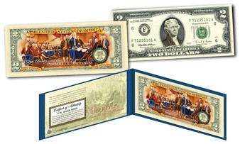 1776-2016 Declaration Of Independence Colorized $2 Bill 240th Anniversary