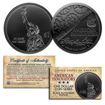 American Innovators $1 Coin 2018 1st Release Black Ruthenium Plated