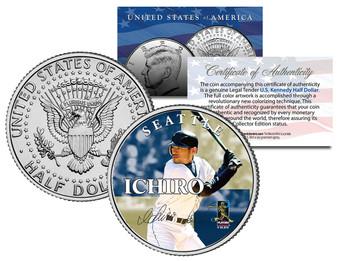 Ichiro Suzuki Seattle MLB Colorized JFK Half Dollar