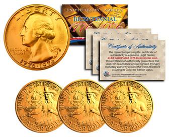 Set of 3 24K Gold Plated Bicentennial Quarters