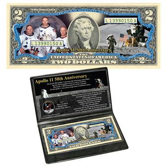 APOLLO 11 NASA Moon Landing 50th Anniversary FC Mint Commemorative Colorized $2 Bill