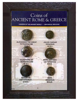 "Coins Of Ancient Rome & Greece 6 Coin Set of Historical Replicas in 5"" x 7"" Frame"