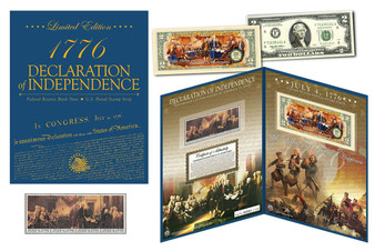 1776-2016 Declaration Of Independence Colorized $2 Bill Currency & Stamp Set in Deluxe Folio