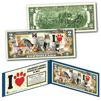 I Love Cats Colorized $2 Bill Featuring 16 Different Breeds