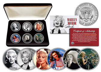 Marilyn Monroe Glamorous Portraits Collection 6 Coin JFK Set with Case