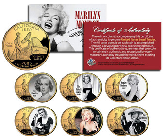 Marilyn Monroe Movies Set Two Colorized & 24K Gold Plated California State Quarter * All About Eve * 6 Coin Set