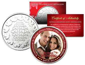 Royal Wedding Prince William & Kate Canadian Medallion Royal Canadian Mint Medallion Coin