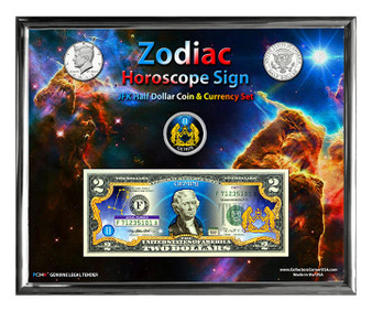 """Zodiac Colorized Coin & Currency Set in 8"""" x 10"""" Frame - Select Your Sign!"""