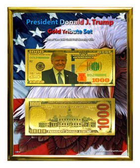 """President Trump Novelty $1,000 Gold Tribute Currency Set in 8"""" x 10"""" Frame"""