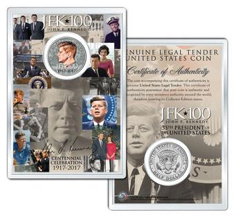 "JFK100 John F. Kennedy Centennial 2017 ""Profile"" JFK Half Dollar Coin in 4x6 Lens Display"