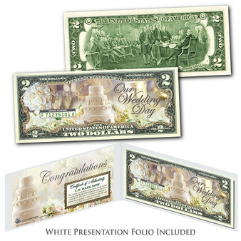 Wedding Day Congratulations Marriage Gift Colorized $2 Bill with White Folio