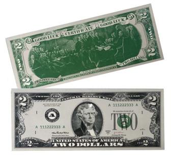 Lucky Silver Novelty $2 Bill