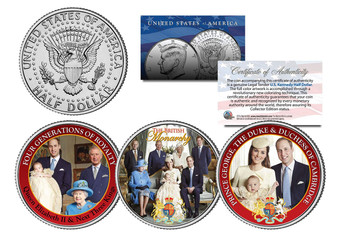 British Royal Family Colorized JFK Half Dollar 3 Coin Set