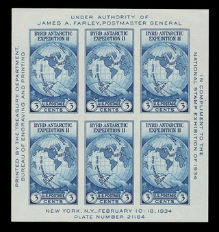 1934 National Stamp Exhibition #735 Sheet of 6 MNH