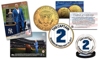 Derek Jeter Set with TOPPS NOW Monument Trading Card & Gold JFK NY Yankee #2 Coin