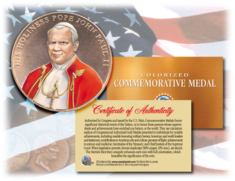 Colorized Pope John Paul II Colorized Commemorative U.S. Congressional Bronze Medal