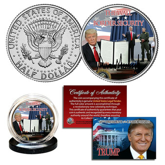 Donald Trump Border Security The WallColorizedJFK Half Dollar