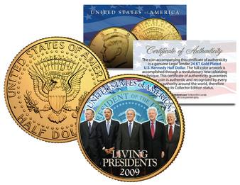 Living Presidents Americana 24K Gold Plated JFK Half Dollar