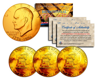 Set of 3 24K Gold Plated Bicentennial Ike Dollars