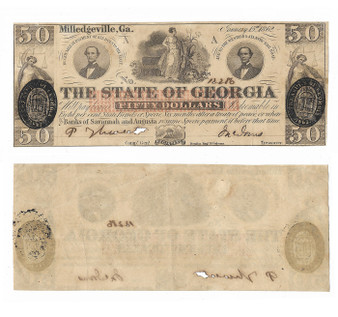 Civil War Era Georgia 1862 $50 Note