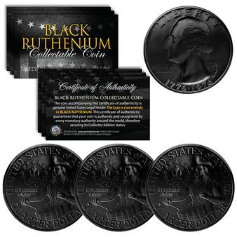 Black Ruthenium Clad 1976 Bicentennial Quarter Lot of 3