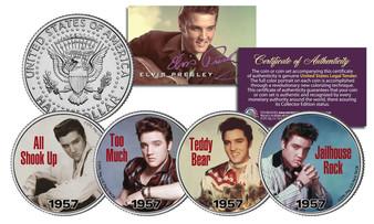 Elvis Presley 1957 #1 Songs Colorized 4 Coin JFK Half Dollar Set