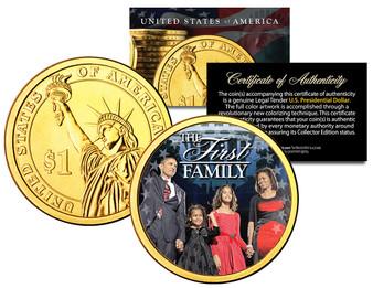 President Barack Obama * First Family * 24K Gold Plated Presidential Dollar