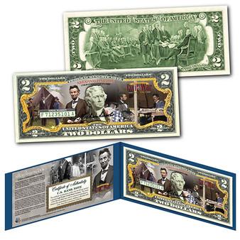Abraham Lincoln Civil War Commander-in-Chief Commemorative Colorized $2 Bill