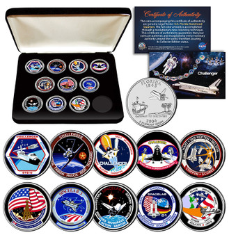 Space Shuttle Challenger Missions NASA Colorized State Quarter 10 Coin Set in Case
