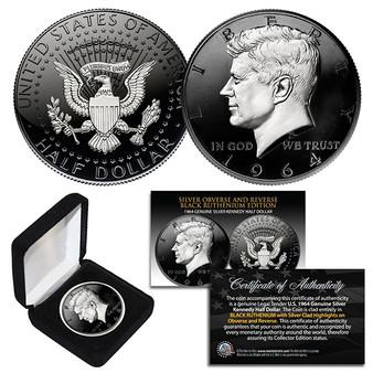 1964 BU Silver JFK Half Dollar 2-Sided Black Ruthenium & Silver Detail with Box