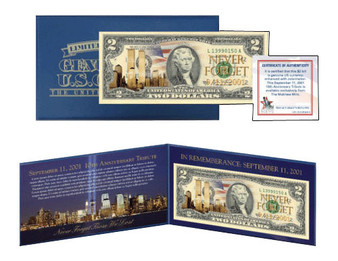 9/11 Commemorative 10th Anniversary $2 Bill Matthew Mint