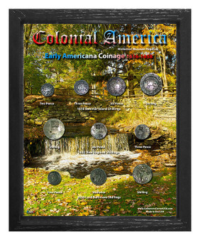 """Early Americana Coinage 1616-1658 Historical Replica Set in 8"""" x 10"""" Frame - V"""
