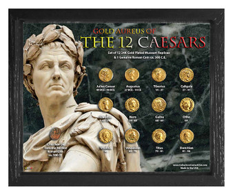 """Gold Aureus of the 12 Caesars 24K Gold Plated Historical Replica Set in 8"""" x 10"""" Frame - H"""
