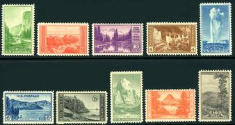 1933 National Parks #740-749 MNH